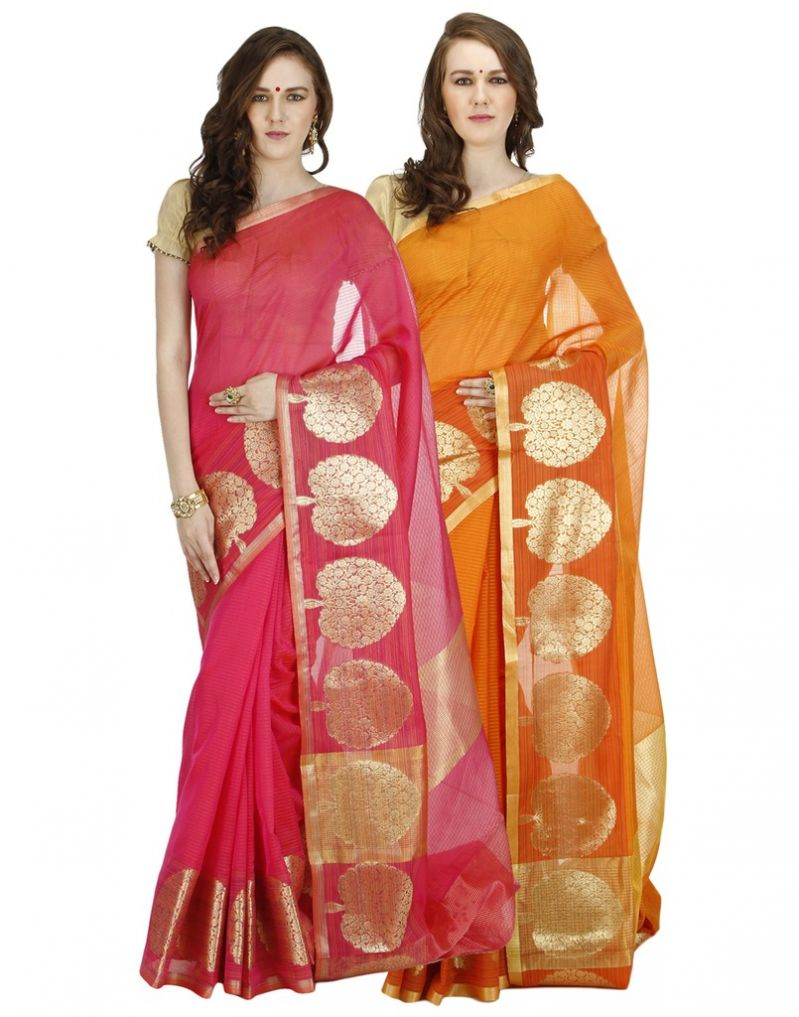 Buy Banarasi Silk Works Party Wear Designer Multi Colour Combo Saree For Women's(bsw1001_02) online