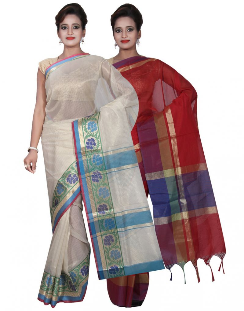 Buy Banarasi Silk Works Party Wear Designer Red & Cream Colour Cotton Combo Saree For Women's(bsw11_12) online