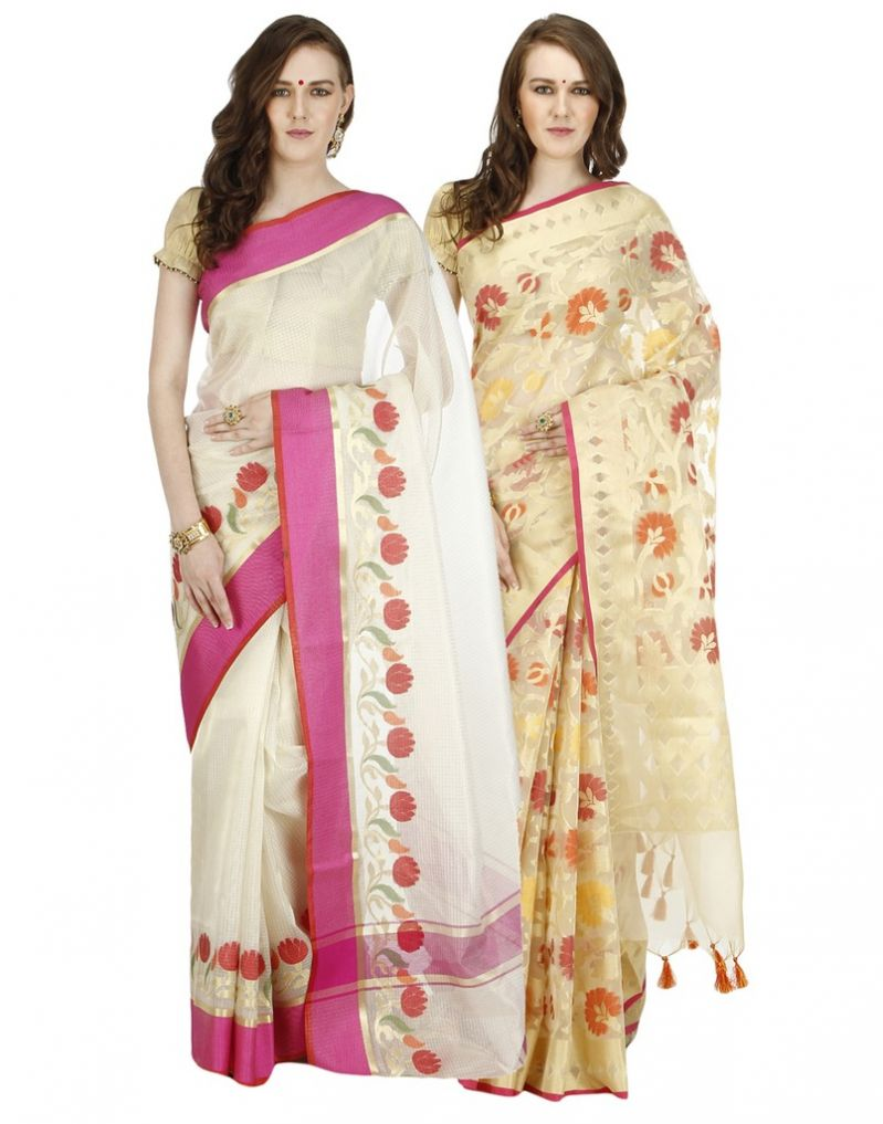 Buy Banarasi Silk Works Party Wear Designer Multi Colour Combo Saree For Women's(bsw1051_45) online