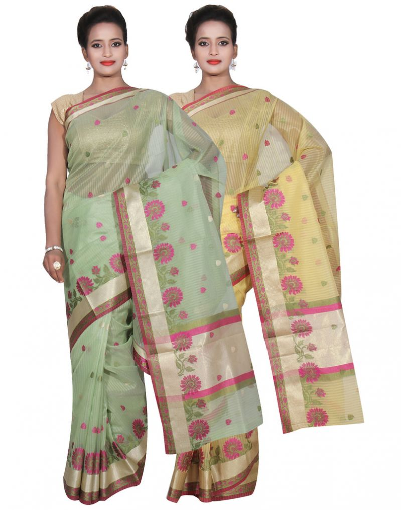 Buy Banarasi Silk Works Party Wear Designer Yellow & Green Colour Super Net Combo Saree For Women's(bsw51_53) online