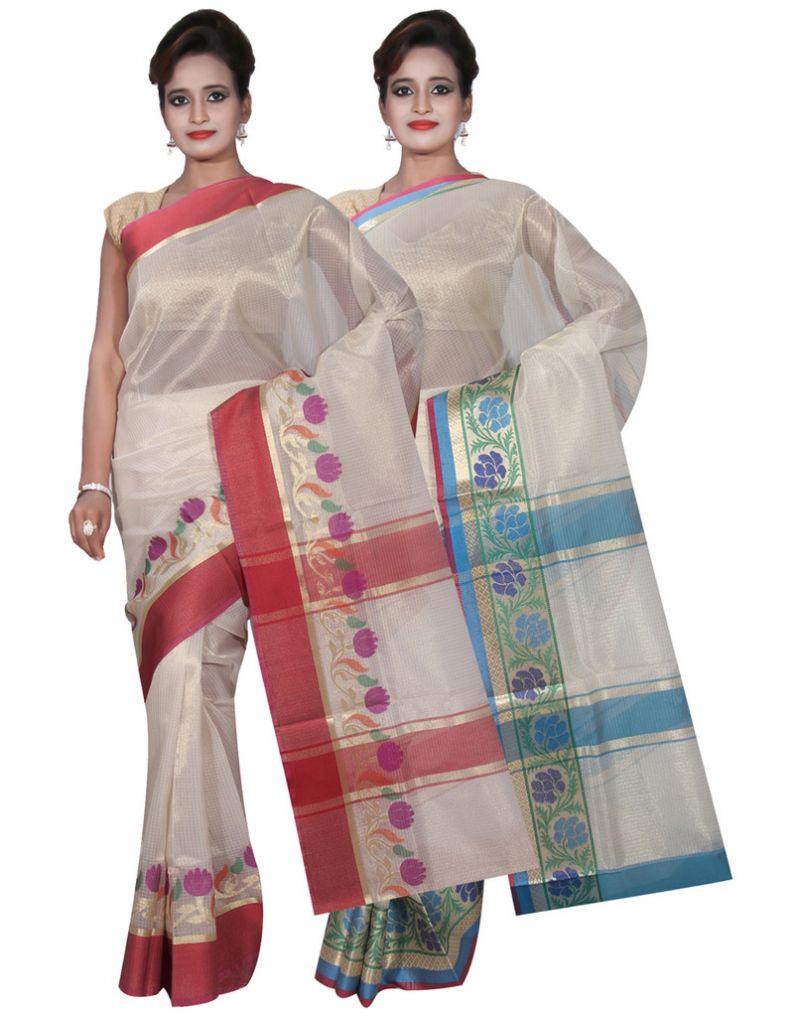 Buy Banarasi Silk Works Party Wear Designer Cream & Pink Colour Tissue Combo Saree For Women's(bsw12_14) online