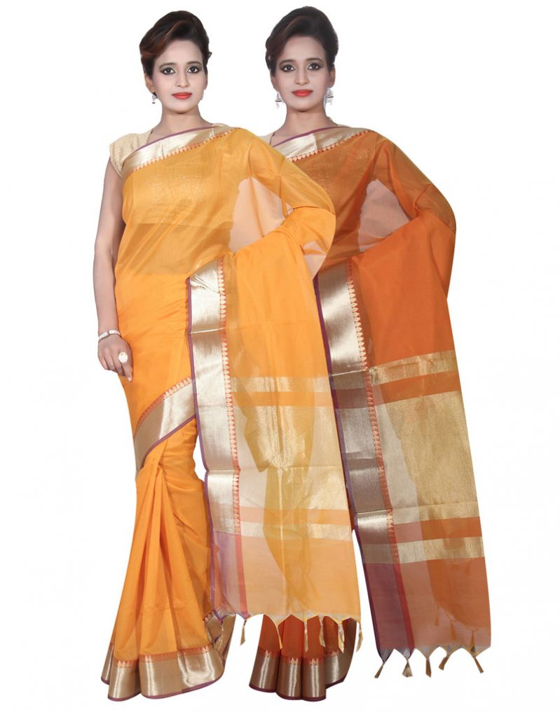 Buy Banarasi Silk Works Party Wear Designer Orange & Mustered Colour Cotton Combo Saree For Women's(bsw22_23) online