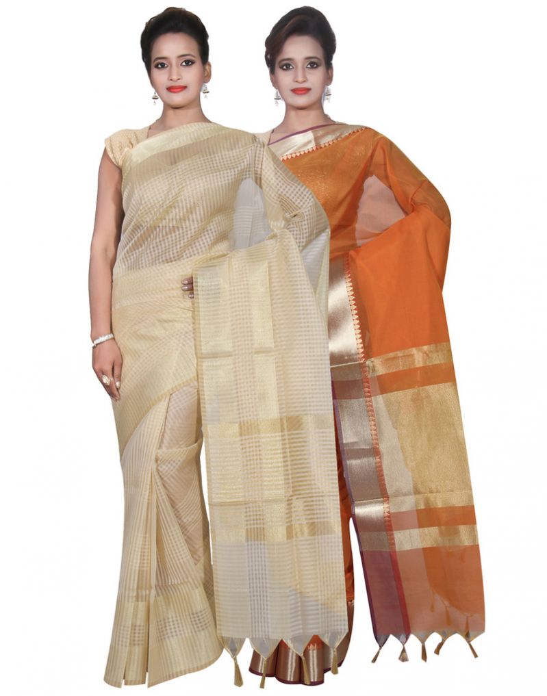 Buy Banarasi Silk Works Party Wear Designer Orange & Cream Colour Cotton Combo Saree For Women's(bsw22_24) online