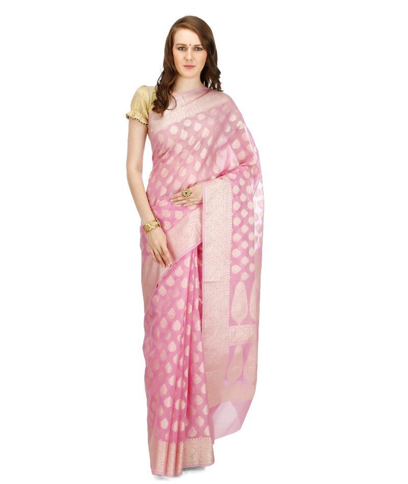 Buy Banarasi Silk Works Party Wear Designer Pink Colour Saree For Women's online