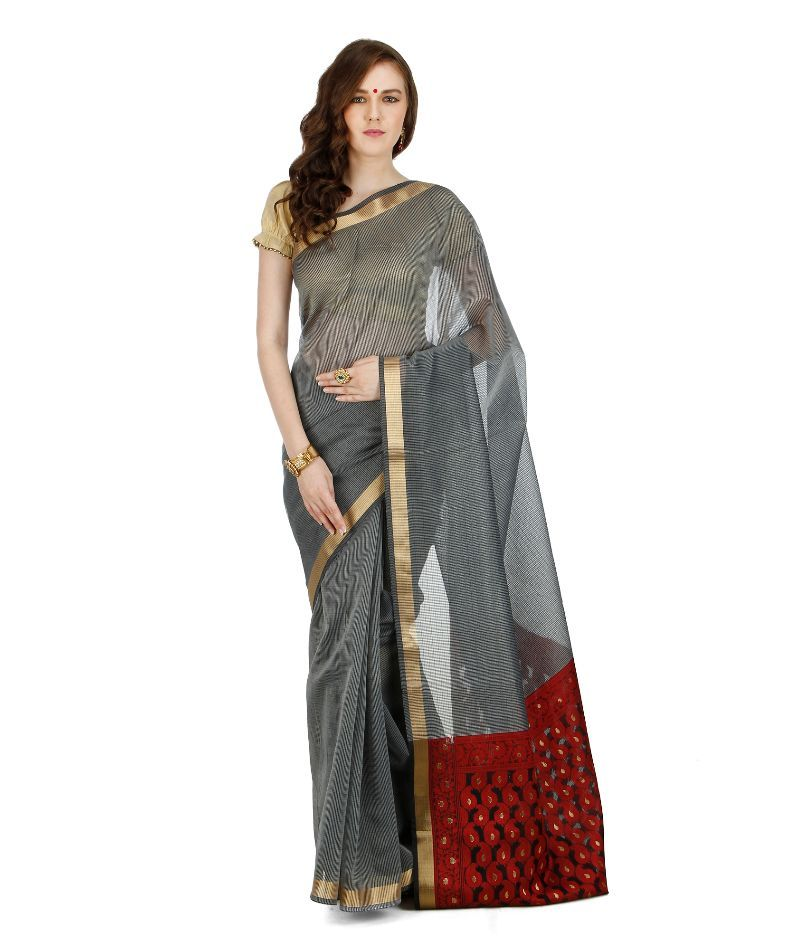 Buy Banarasi Silk Works Party Wear Designer Grey Colour Saree For Women's online