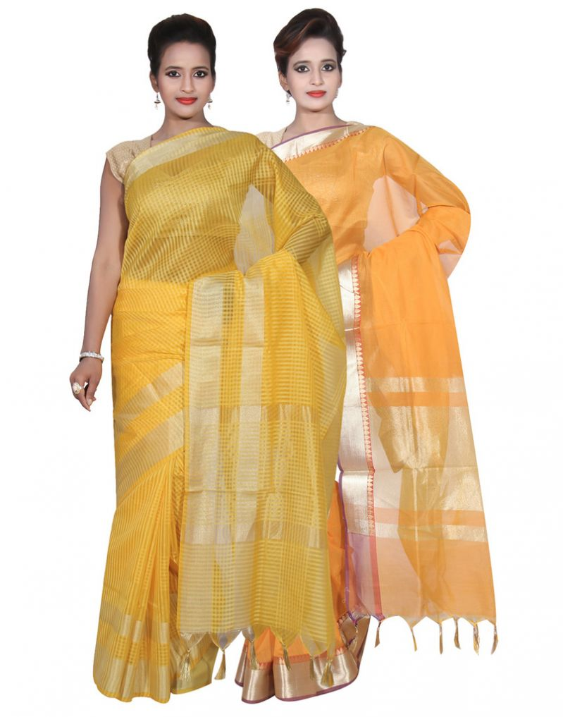 Buy Banarasi Silk Works Party Wear Designer Mustered & Yellow Colour Cotton Combo Saree For Women's(bsw23_25) online