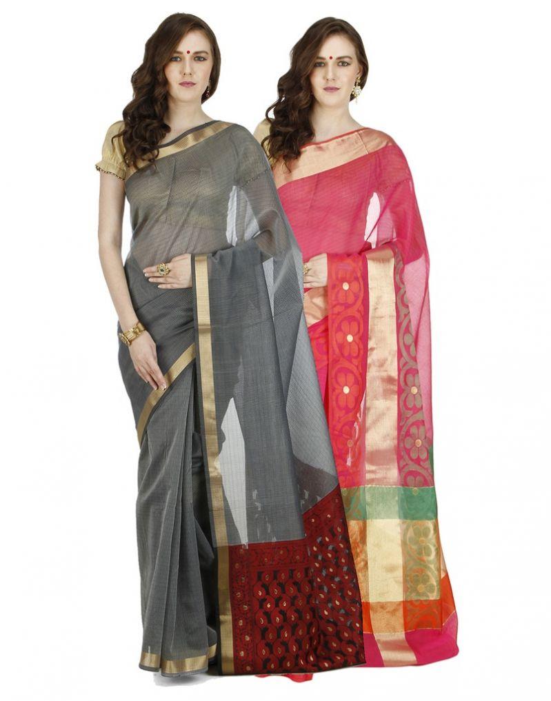 Buy Banarasi Silk Works Party Wear Designer Multi Colour Combo Saree For Women's(bsw1053_33) online