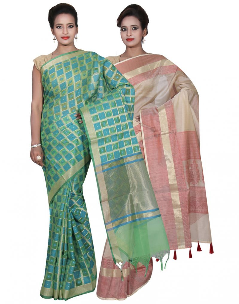 Buy Banarasi Silk Works Party Wear Designer Cream & Green Colour Cotton Combo Saree For Women's(bsw33_34) online