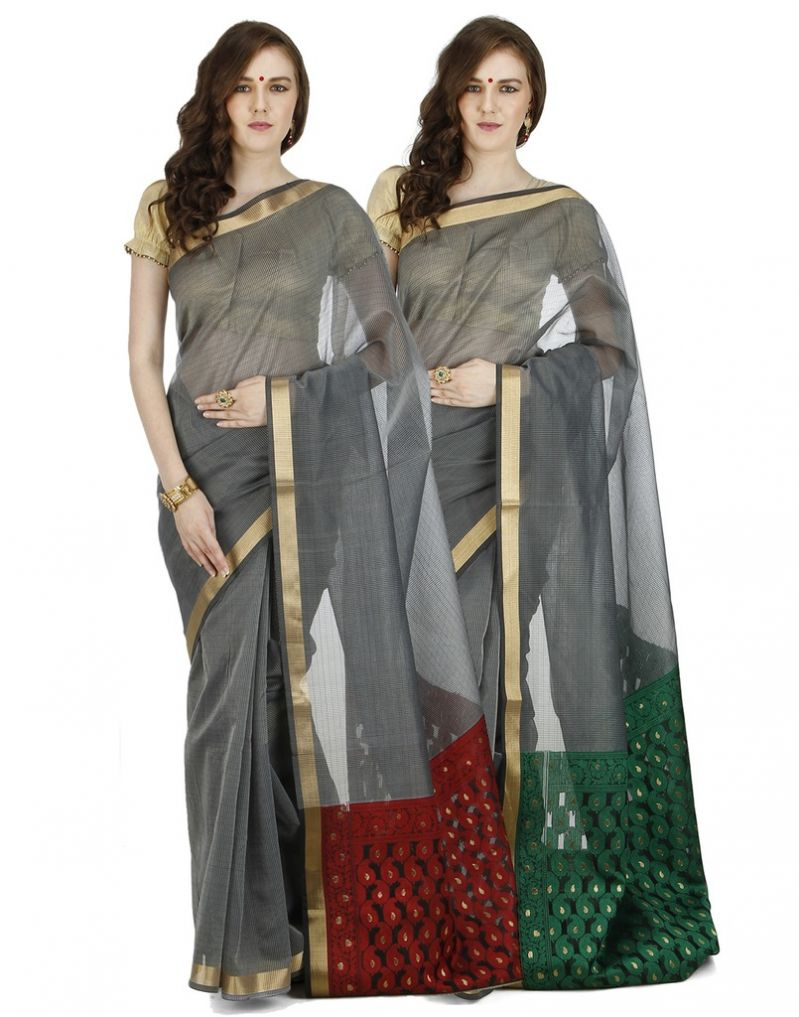 Buy Banarasi Silk Works Party Wear Designer Multi Colour Combo Saree For Women's(bsw1033_34) online