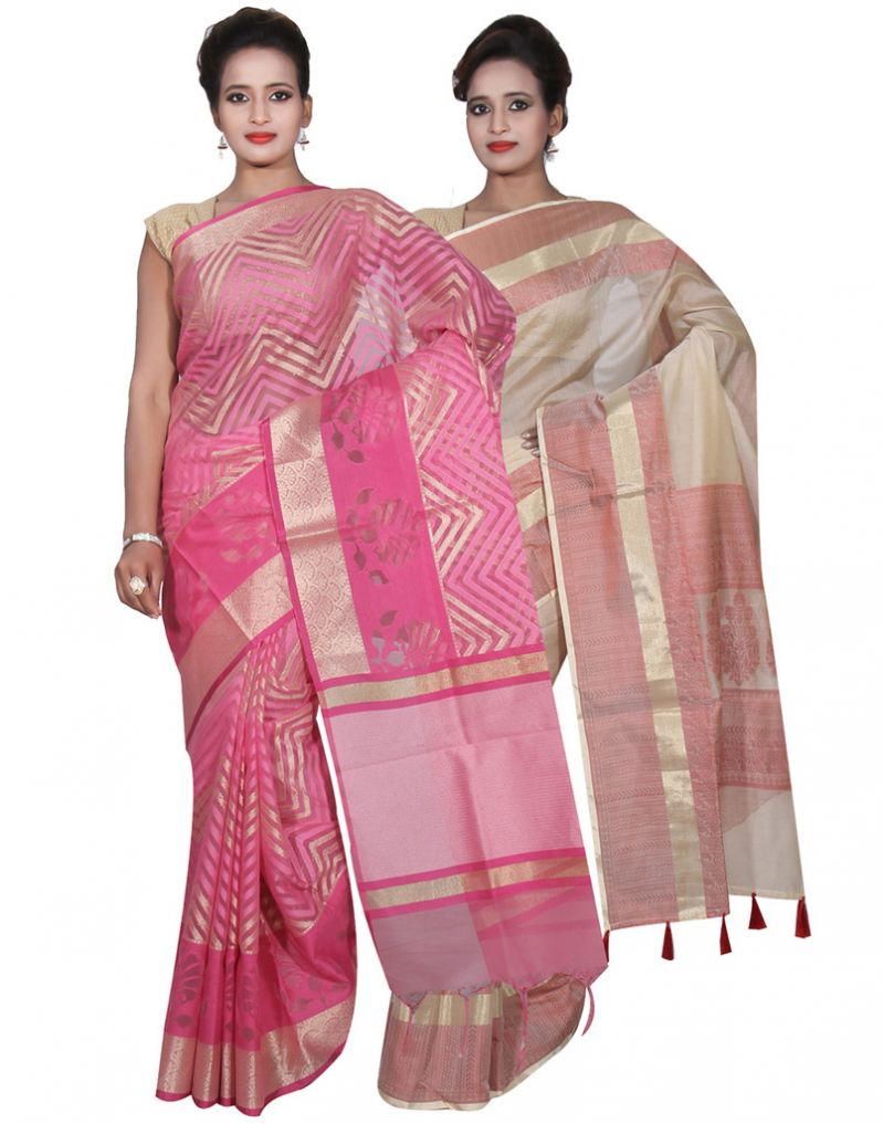 Buy Banarasi Silk Works Party Wear Designer Cream & Pink Colour Cotton Combo Saree For Women's(bsw33_35) online