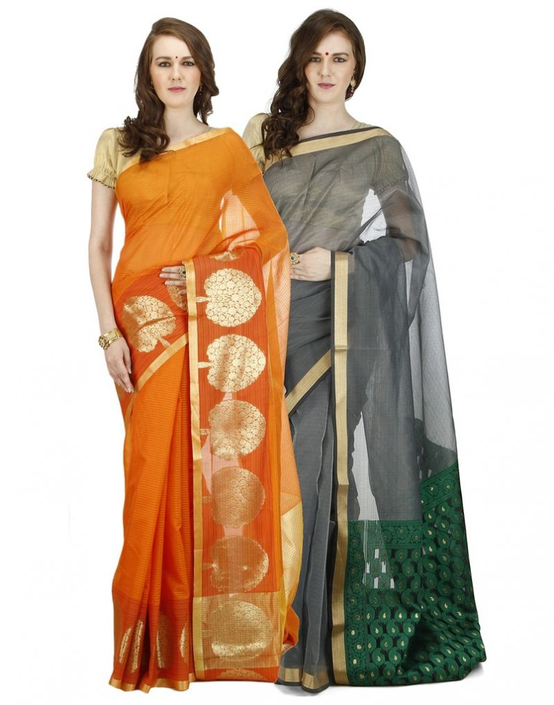 Buy Banarasi Silk Works Party Wear Designer Multi Colour Combo Saree For Women's(bsw1034_01) online