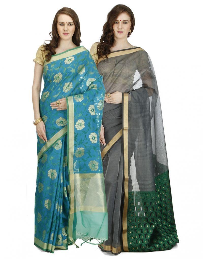 Buy Banarasi Silk Works Party Wear Designer Multi Colour Combo Saree For Women's(bsw1034_08) online
