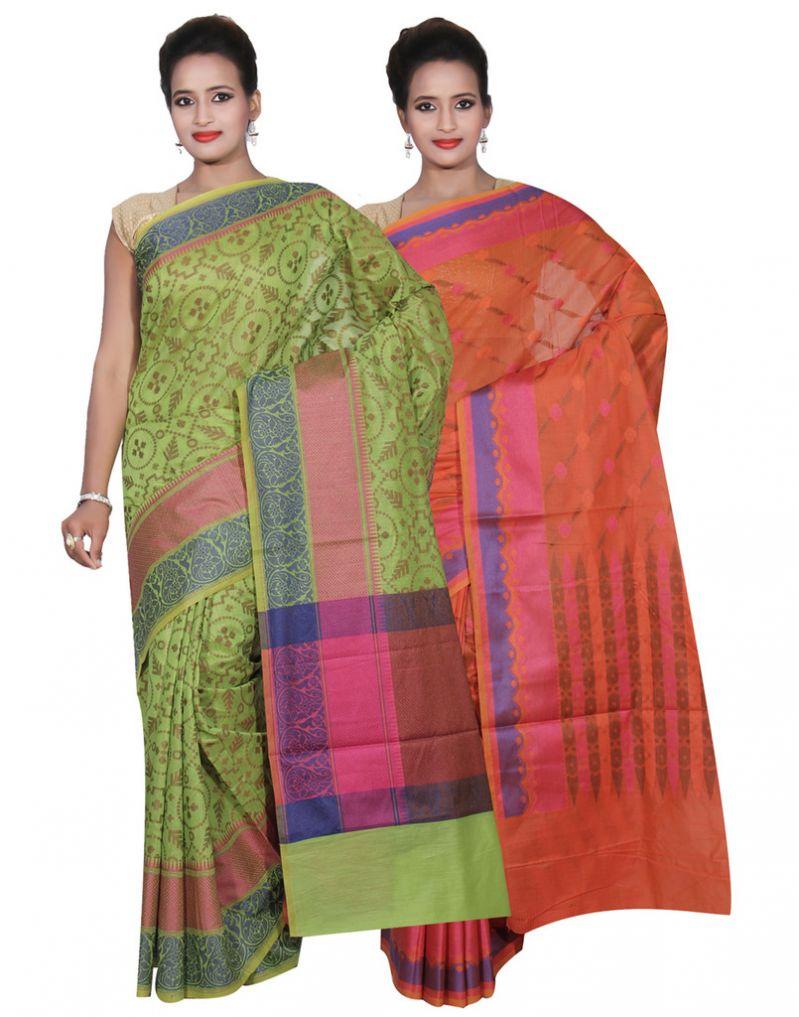 Buy Banarasi Silk Works Party Wear Designer Orange & Green Colour Cotton Combo Saree For Women's(bsw44_46) online