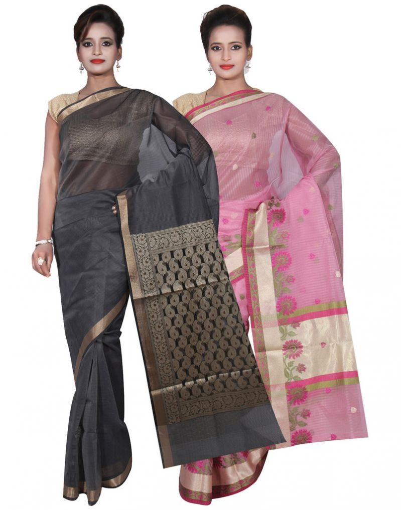 Buy Banarasi Silk Works Party Wear Designer Pink & Grey Colour Super Net Combo Saree For Women's(bsw52_1) online