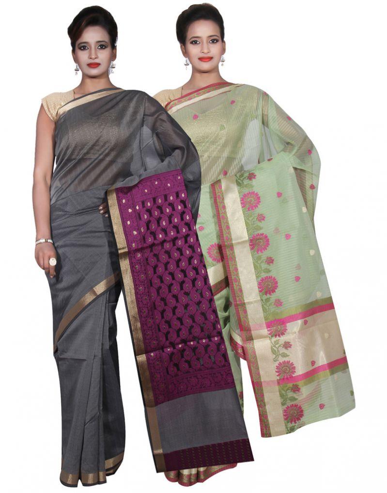 Buy Banarasi Silk Works Party Wear Designer Green & Grey Colour Super Net Combo Saree For Women's(bsw53_2) online