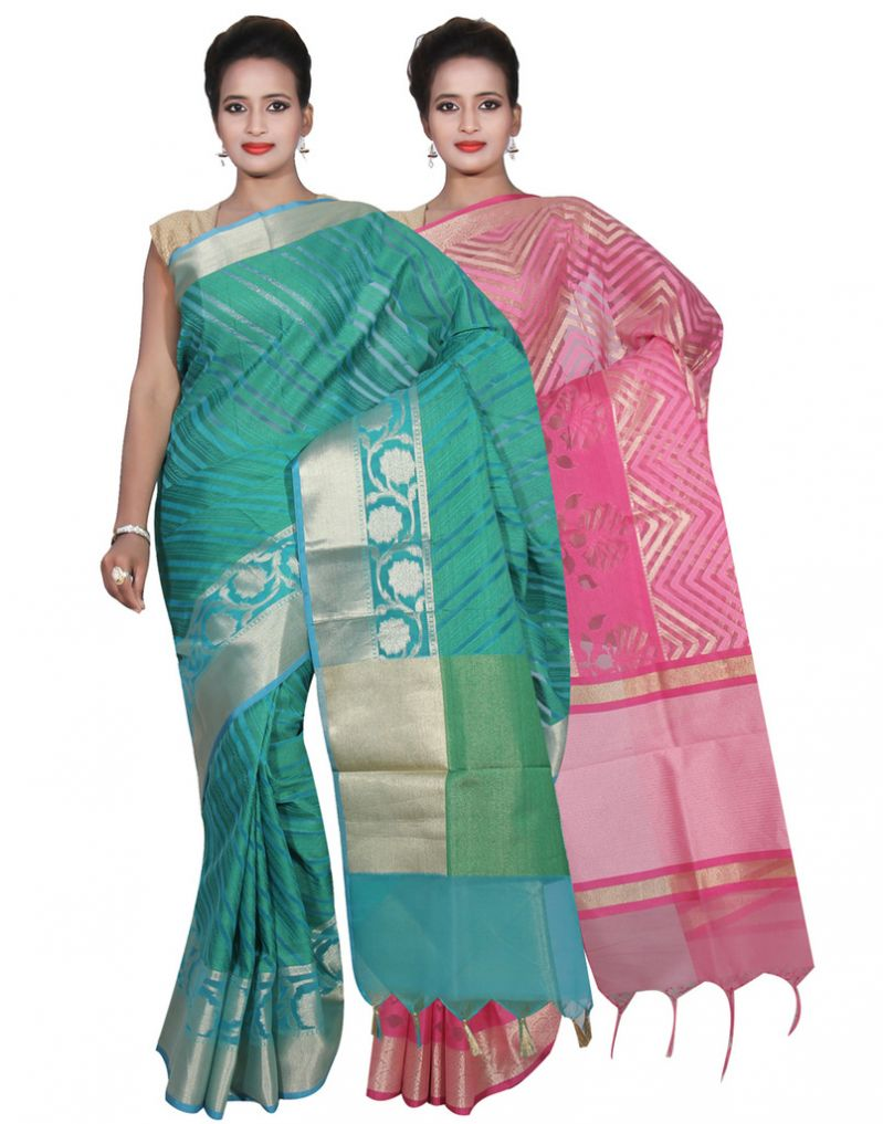 Buy Banarasi Silk Works Party Wear Designer Pink & Green Colour Cotton Combo Saree For Women's(bsw35_36) online
