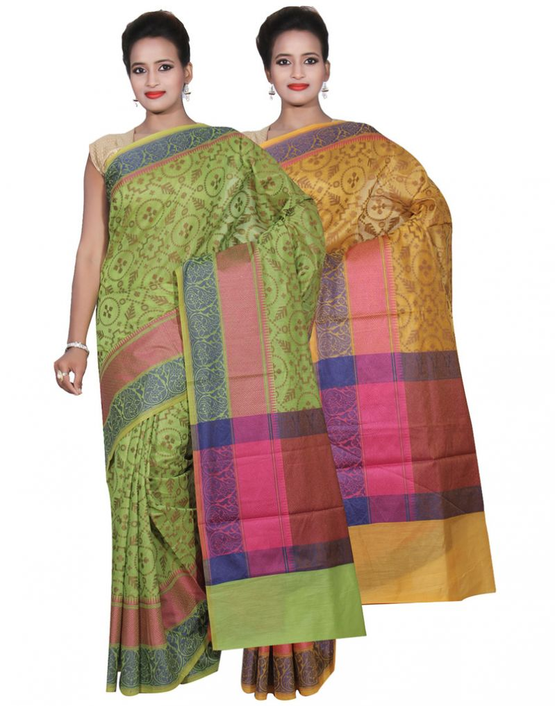 Buy Banarasi Silk Works Party Wear Designer Gold & Green Colour Cotton Combo Saree For Women's(bsw45_46) online