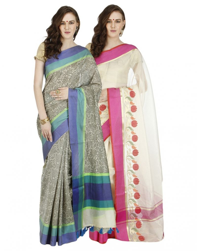 Buy Banarasi Silk Works Party Wear Designer Multi Colour Combo Saree For Women's(bsw1045_46) online