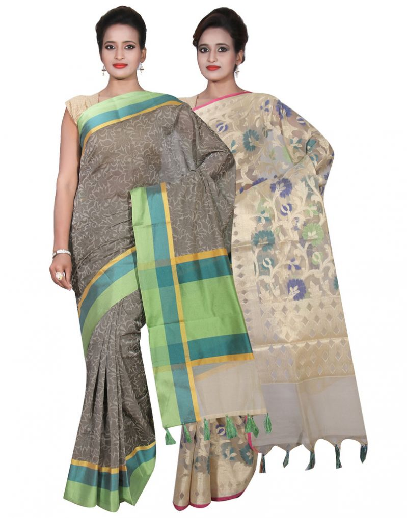 Buy Banarasi Silk Works Party Wear Designer Cream & Grey Colour Cotton Combo Saree For Women's(bsw26_28) online