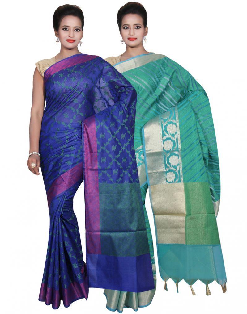 Buy Banarasi Silk Works Party Wear Designer Green & Blue Colour Cotton Combo Saree For Women's(bsw36_38) online