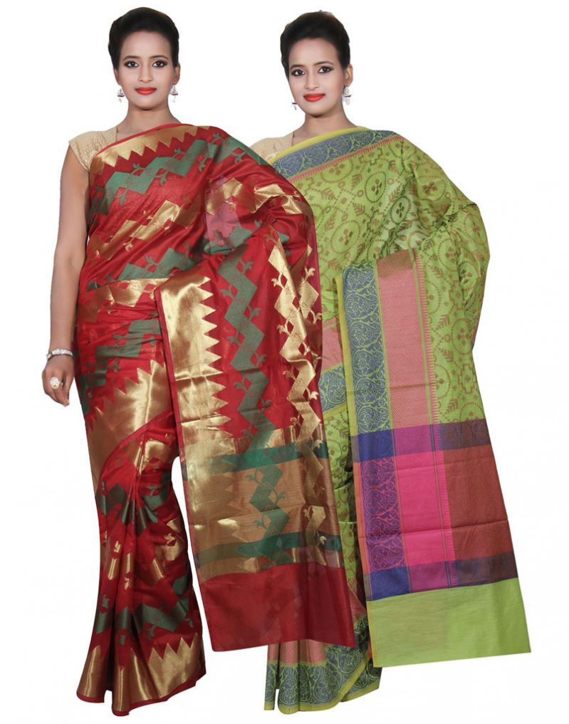 Buy Banarasi Silk Works Party Wear Designer Green & Red Colour Cotton Combo Saree For Women's(bsw46_47) online