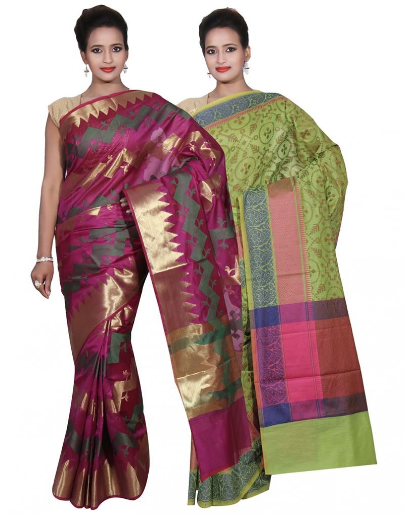 Buy Banarasi Silk Works Party Wear Designer Green & Purple Colour Cotton Combo Saree For Women's(bsw46_48) online
