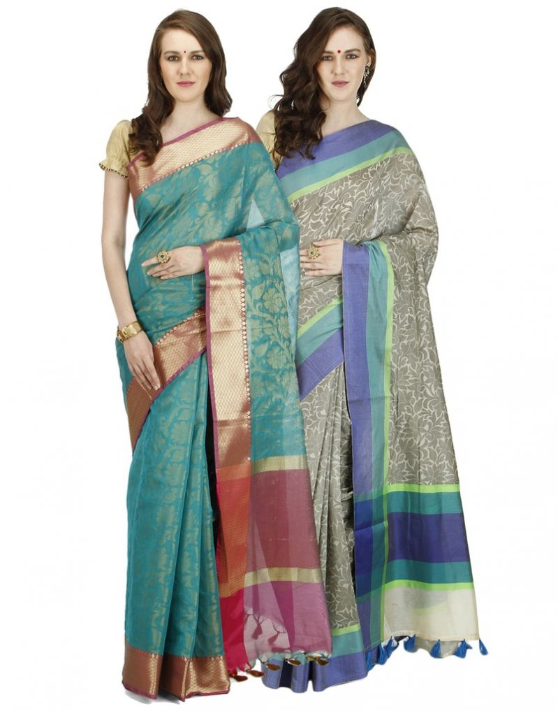 Buy Banarasi Silk Works Party Wear Designer Multi Colour Combo Saree For Women's(bsw1046_59) online