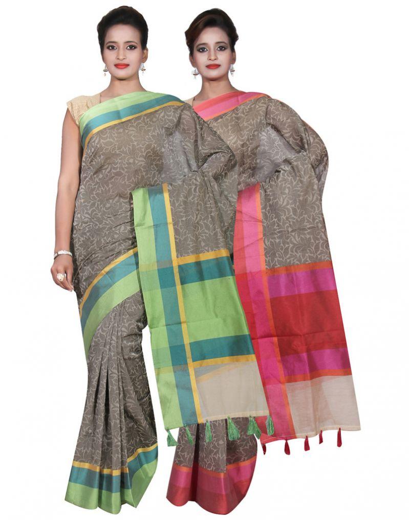 Buy Banarasi Silk Works Party Wear Designer Grey & Grey Colour Cotton Combo Saree For Women's(bsw27_28) online
