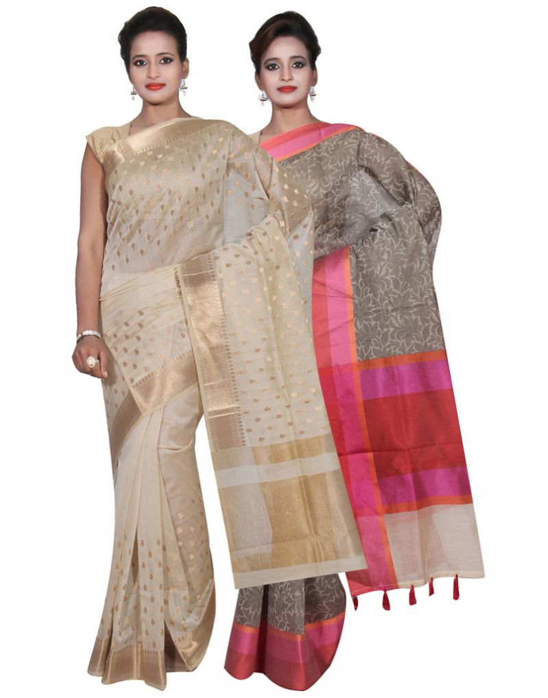 Buy Banarasi Silk Works Party Wear Designer Grey & Cream Colour Cotton Combo Saree For Women's(bsw27_29) online