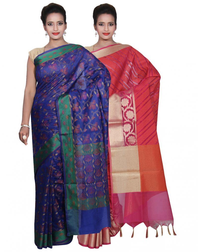 Buy Banarasi Silk Works Party Wear Designer Pink & Blue Colour Cotton Combo Saree For Women's(bsw37_39) online