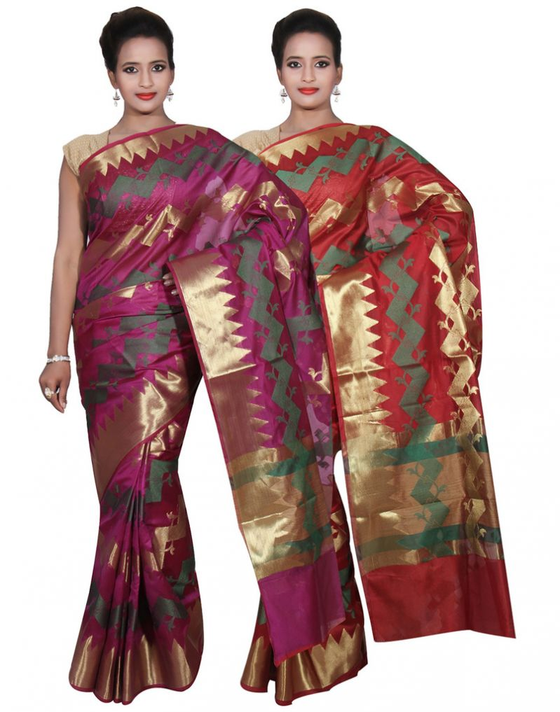 Buy Banarasi Silk Works Party Wear Designer Red & Purple Colour Cotton Combo Saree For Women's(bsw47_48) online