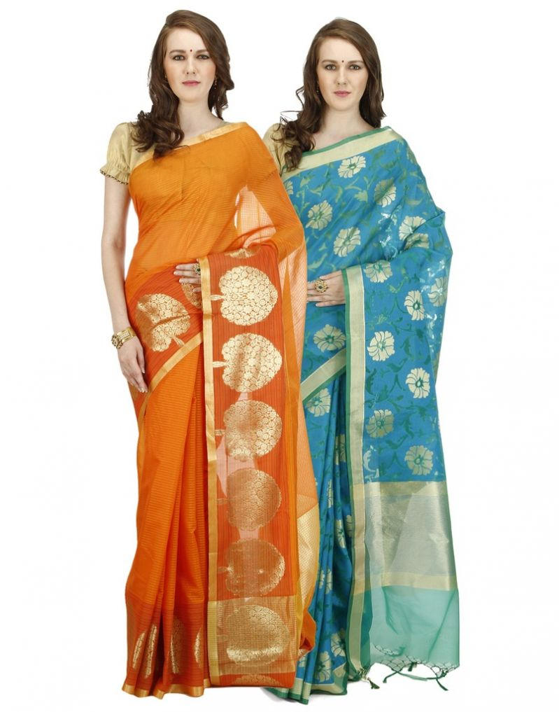 Buy Banarasi Silk Works Party Wear Designer Multi Colour Combo Saree For Women's(bsw1008_01) online