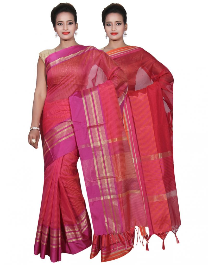 Buy Banarasi Silk Works Party Wear Designer Red & Pink Colour Cotton Combo Saree For Women's(bsw18_19) online