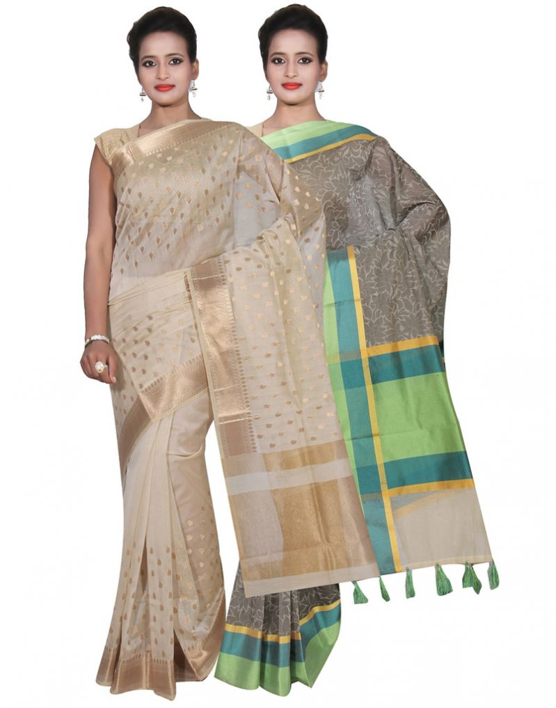 Buy Banarasi Silk Works Party Wear Designer Grey & Cream Colour Cotton Combo Saree For Women's(bsw28_29) online