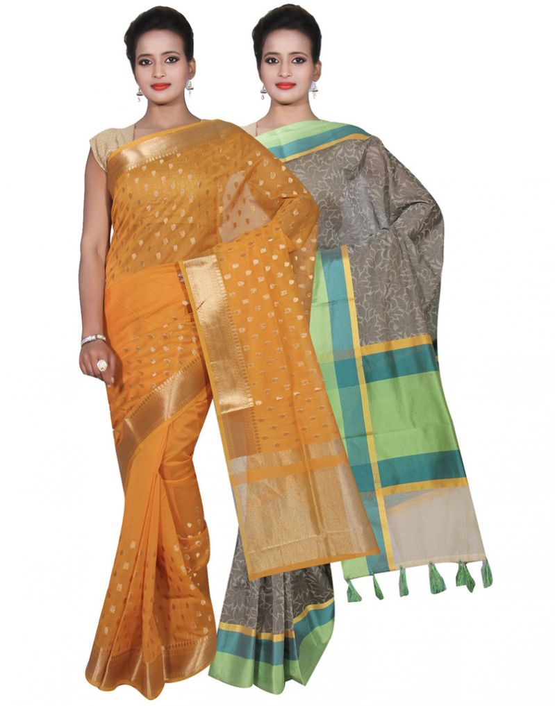 Buy Banarasi Silk Works Party Wear Designer Grey & Yellow Colour Cotton Combo Saree For Women's(bsw28_30) online