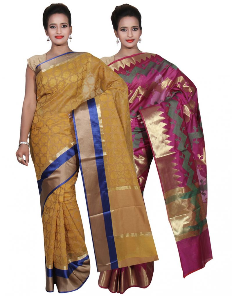 Buy Banarasi Silk Works Party Wear Designer Purple & Yellow Colour Cotton Combo Saree For Women's(bsw48_49) online