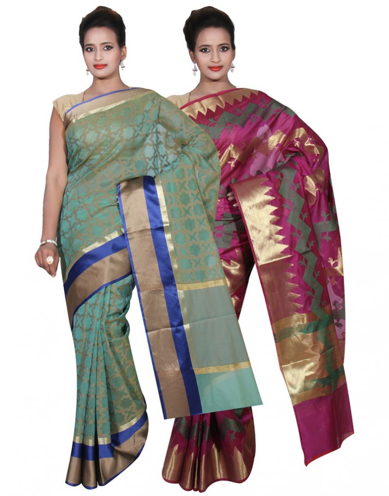 Buy Banarasi Silk Works Party Wear Designer Purple & Green Colour Cotton Combo Saree For Women's(bsw48_50) online