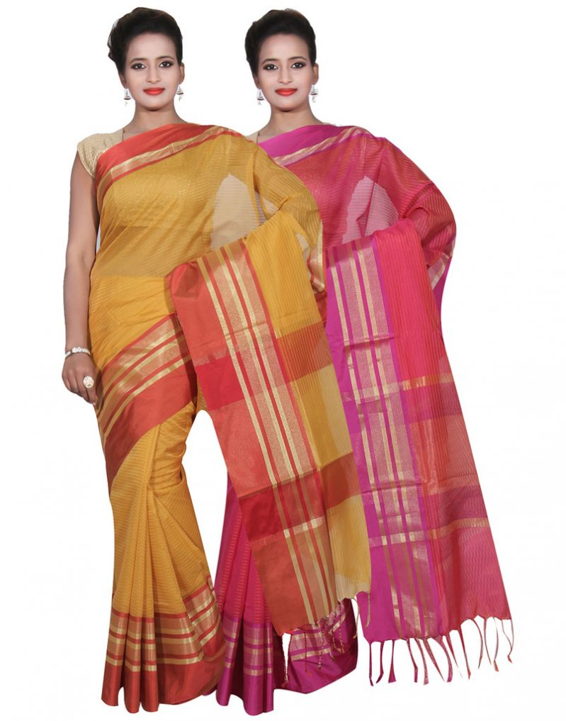 Buy Banarasi Silk Works Party Wear Designer Pink & Gold Colour Cotton Combo Saree For Women's(bsw19_21) online