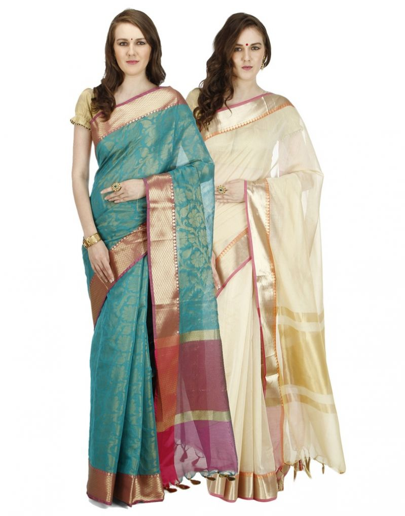 Buy Banarasi Silk Works Party Wear Designer Multi Colour Combo Saree For Women's(bsw1059_28) online