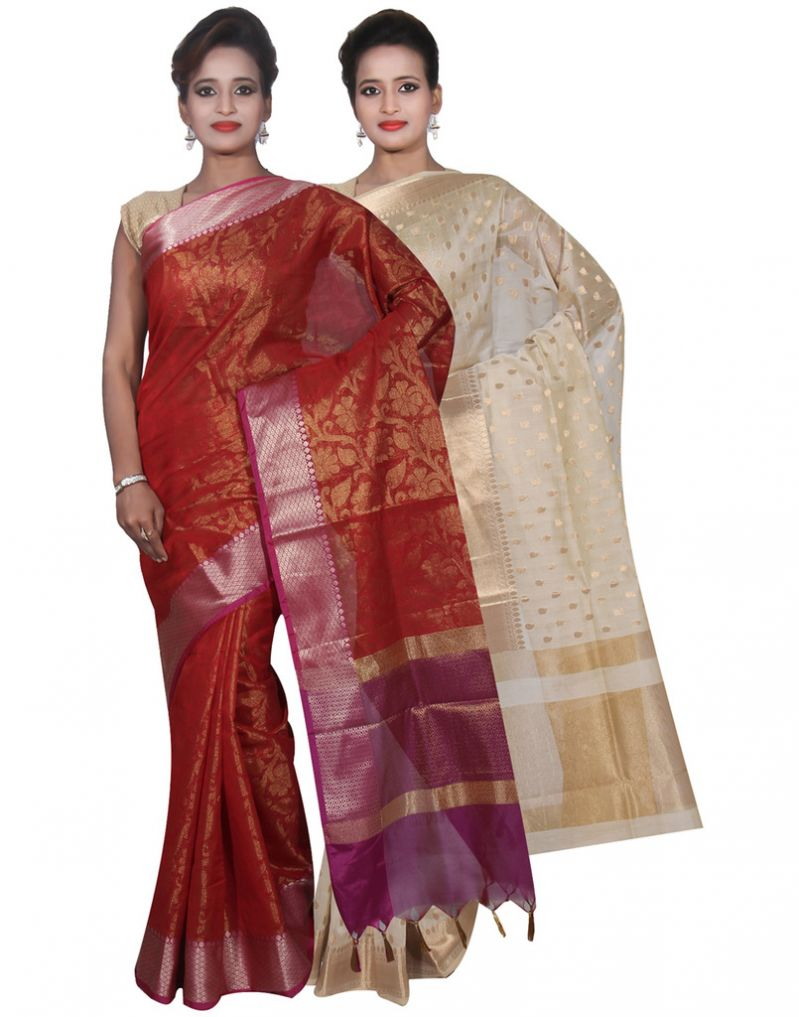 Buy Banarasi Silk Works Party Wear Designer Cream & Red Colour Cotton Combo Saree For Women's(bsw29_31) online
