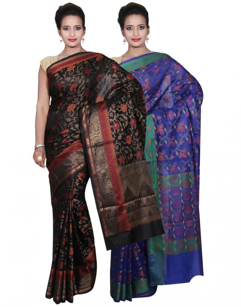 Buy Banarasi Silk Works Party Wear Designer Blue & Black Colour Cotton Combo Saree For Women's(bsw39_40) online