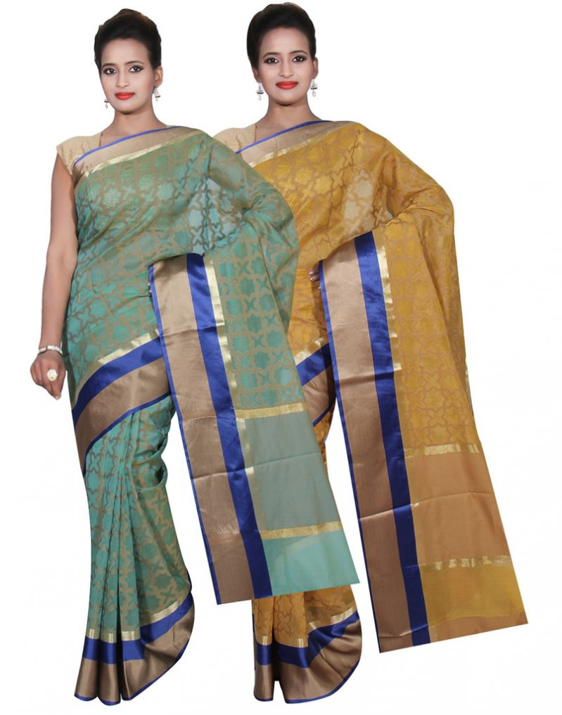 Buy Banarasi Silk Works Party Wear Designer Yellow & Green Colour Super Net Combo Saree For Women's(bsw49_50) online