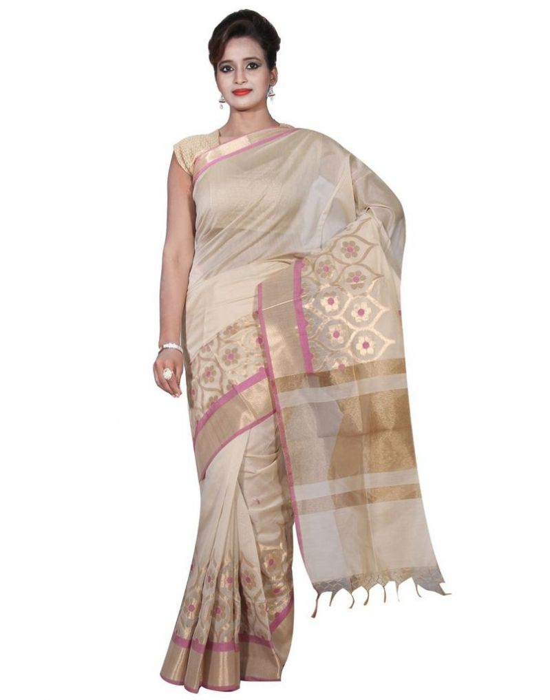 Buy Banarasi Silk Works Party Wear Designer Beige Colour Cotton Saree For Women's(bsw5) online