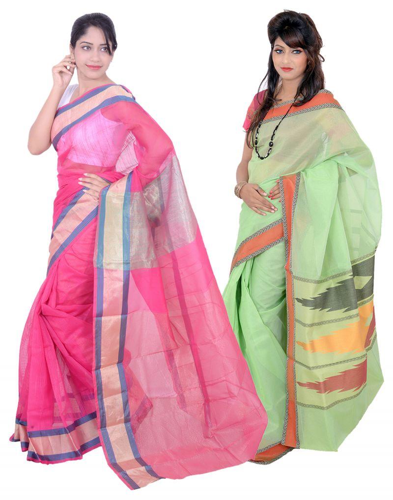 77f297bb9d3aa Buy Banarasi Silk Works Superb Pink And Light Green Super Net Cotton  Embroidered Combo Saree online