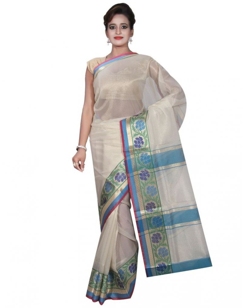 Buy Banarasi Silk Works Party Wear Designer Cream Colour Tissue Saree For Women's(bsw12) online