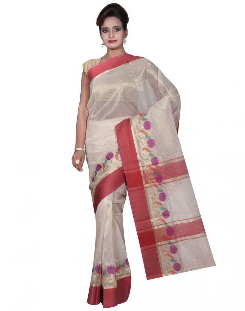 Buy Banarasi Silk Works Party Wear Designer Pink Colour Tissue Saree For Women's(bsw14) online