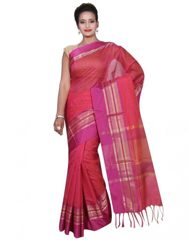Buy Banarasi Silk Works Party Wear Designer Pink Colour Cotton Saree For Women's(bsw19) online