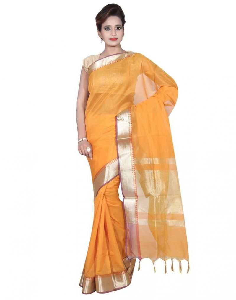 Buy Banarasi Silk Works Party Wear Designer Mustered Colour Cotton Saree For Women's(bsw23) online