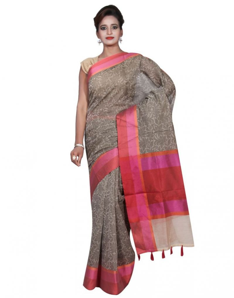 Buy Banarasi Silk Works Party Wear Designer Grey Colour Cotton Saree For Women's(bsw27) online