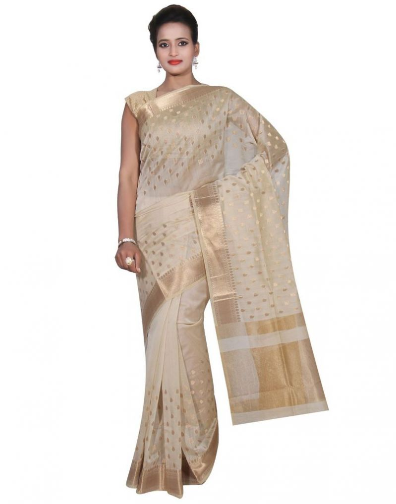 Buy Banarasi Silk Works Party Wear Designer Cream Colour Cotton Saree For Women's(bsw29) online